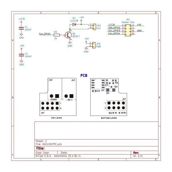 HATL01FPC Автоматичен контрол на вентилатора за Raspberry Pi с 5V пинове и Крипто чип за Raspberry Pi LeapMatic MaticControl