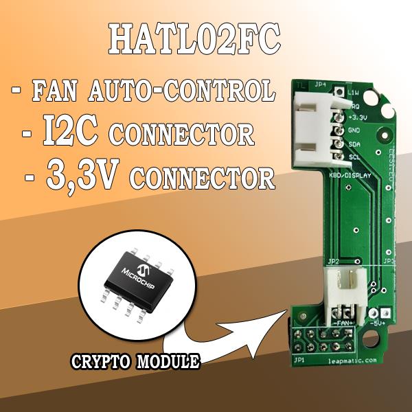 HATL02FC Автоматичен контрол на вентилатора за Raspberry Pi с I2C и 3,3V пинове и крипто чип за Raspberry Pi LeapMatic MaticControl